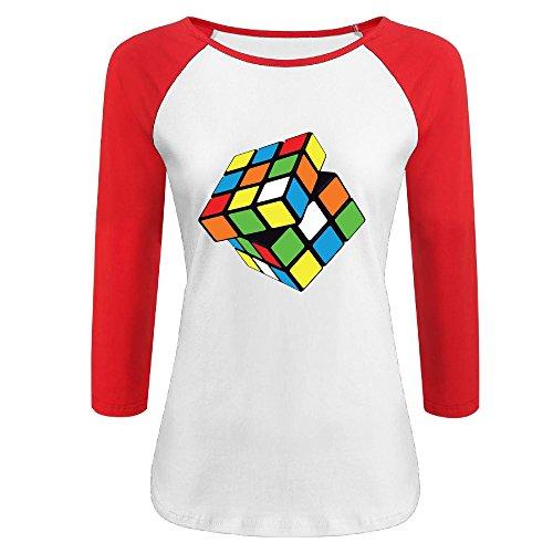 Wangyanping Women's Vector-rubik-s-cube.png 3/4 Sleeve Baseball Raglan T-Shirt Red Size - Woman Vector Png