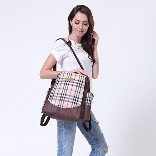 Mejor Bebé multifuncional impermeable bolsa de pañales bebé pañales tamaño grande mochila marrón marrón marrón
