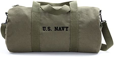 US NAVY Text Army Sport Heavyweight Canvas Duffel Bag in Olive Black, Large