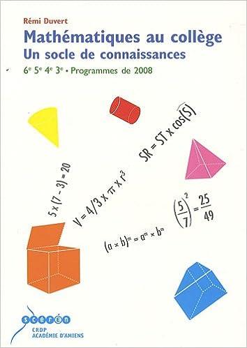 Lire un Mathématiques au collège : un socle de connaissance pdf, epub ebook