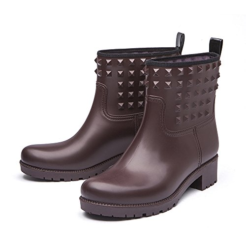 Brown Women's Rivet Waterproof Short 6 Boots Colors Rain Rubber Fashion Ankle with DKSUKO Boots dO8UqXOw