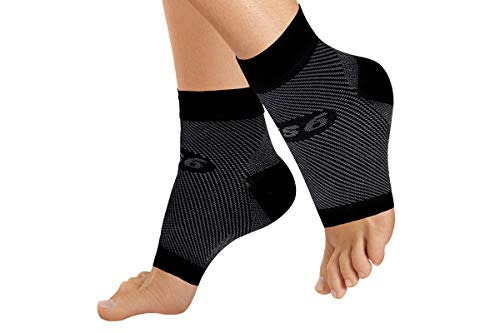 OrthoSleeve FS6 Compression Foot Sleeve (One Pair) for Plantar Fasciitis, Heel Pain, Achilles Tendonitis and Swelling (Black, X-Small)