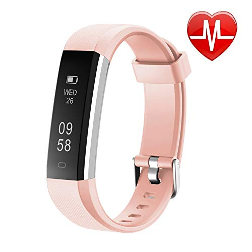 Letsfit Fitness Tracker HR, Sports Fitness Watch with Heart Rate Monitor and Sleep Monitor, Pedometer Watch, Step Counter, Bluetooth Smart Band for Kids Women and Men, Light Pink