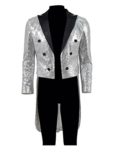 [Very Last Shop Men's Glitter Sequin Tailcoat Showman Compere Costume For Carnival Party Shows Ball (Silver, US Men-XXXL)] (Sequin Tailcoat Costume)
