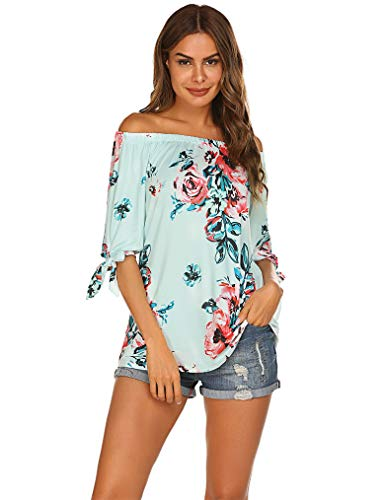 Flower Print Off The Shoulder Slash Neck Tops Ruffle T-Shirt Blouses Plus Size 2X(08 Light Blue, XXL) ()