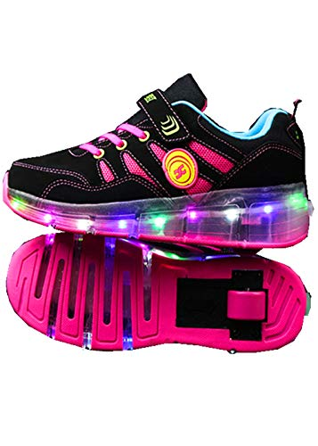 YUHJ led Shoes USB Single Wheel Skates Light Shoes(,Black-Pink,34) -