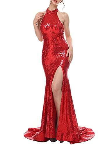 Dresses 2018 BP143 Long Mermaid Slit Gowns Sequin Prom Women's BessWedding Red Formal High Evening 6XxCn1Bn