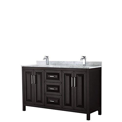 Wyndham Collection Daria 60 inch Double Bathroom Vanity in Dark Espresso, White Carrara Marble Countertop, Undermount Square Sinks, and No Mirror