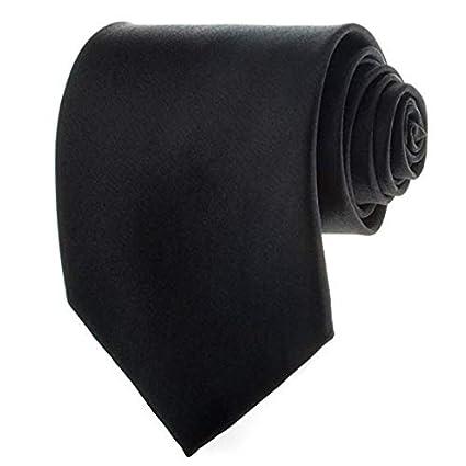 Black New Mens Solid Color Black Ties KA-1000101