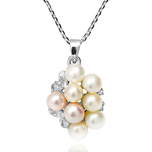 AeraVida Cultured Freshwater Pearl Grape Cluster Sparking Cubic Zirconia .925 Sterling Silver Pendant Necklace
