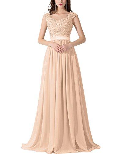 VaniaDress Women Applique Beading Long Evening Dress Formal Gowns V007LF Champagne US16 from VaniaDress