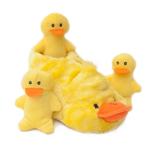 ZippyPaws Slipper Nest Squeaky Hide and Seek Plush Dog Toy, Duck (Seek Duck)