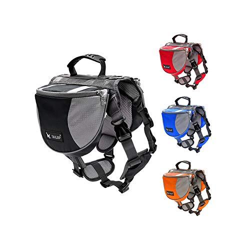 ZZmeet Dog Backpack Harness Quick Release Carriers Dog Pack Hound Travel Camping Hiking Saddle Bag Rucksack for Large Pet Dog Pitbulls,Blue,Suit 28 to 40 kg pet