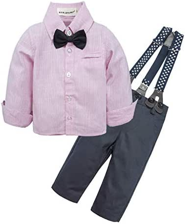BIG ELEPHANT Baby Boys' 2 Pieces Gentleman Clothes Sets Bow Tie Shirts + Suspender Pants Best Birthday Gifts