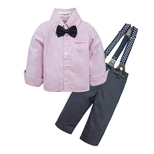 BIG ELEPHANT Baby Boys' 2 Pieces Long Sleeve Romper Suspender Pants Clothing Set with Bowtie U20 -