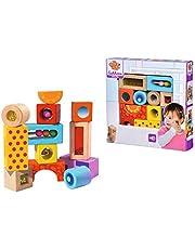 Eichhorn - geluidsbouwstenen - 12 kleurrijke houten bouwstenen die geluiden maken, voor kinderen en baby's vanaf 12 maanden, houten speelgoed