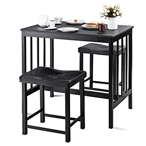 Giantex 3 PCS Counter Height Dining Set Faux Marble Table 2 Chairs Kitchen Bar Furniture (Black) ()