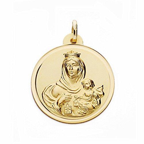 Médaille pendentif or 18k Virgen del Carmen 24mm. lunette lisse [AA2508]