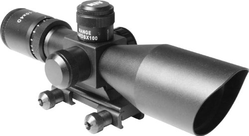 Aim Sports 2.5-10X40 Dual Ill. Scope with Cut Sunshade/Rangefinder, Green Lens (Black, Medium) by Aim Optics