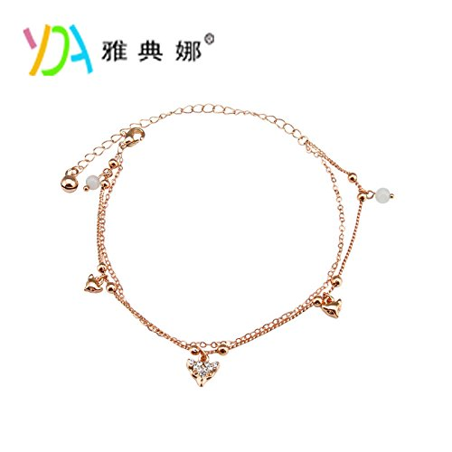 Diamond Accent Baby Shoe - usongs Athena fashion cat's eye fox rose gold diamond Foot Chain anklet ankle chain birthday present women girls hypoallergenic