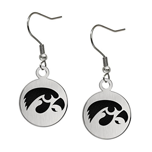 Iowa Hawkeyes Satin Finish Stainless Steel Disc Earrings -
