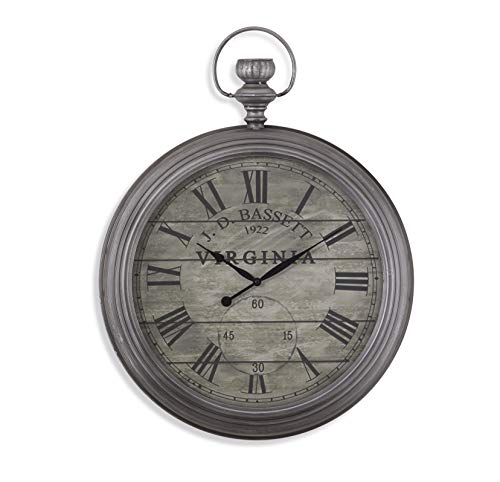 Bassett Mirror Company Wall Clock in Antique Pewter