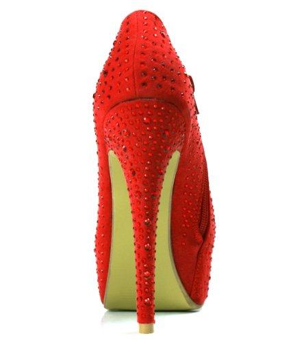 Ankle Heel Pumps Shoes Platform Red Women's Rhinestone High Vogue OwnShoe Zipper Elegant Sexy Stiletto 7YxqTnxE