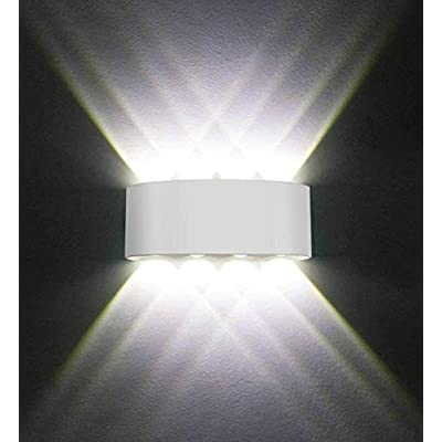 Modern Exterior Light Fixtures, 8W Led Porch Lights Outdoor Wall Sconce Up Down Hallway Waterproof Wall Lamp for Theater Room, Living Room, Bedroom, Entryway, Staircase, Corridor