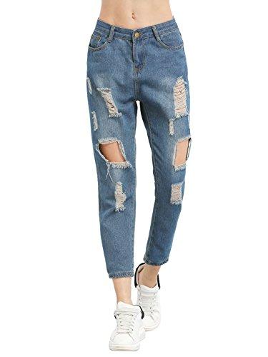 SweatyRocks Womens Juniors Distressed Ripped Straight Fit Boyfriend Ankle Jeans