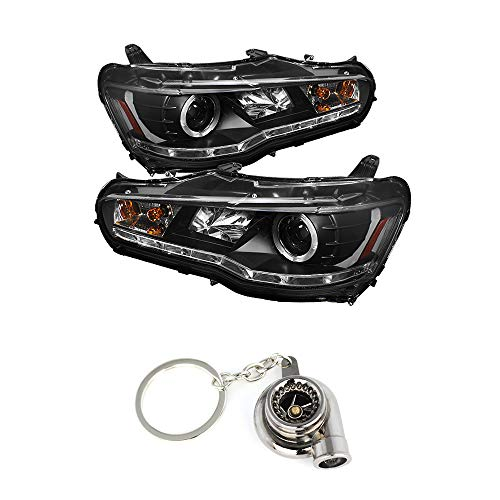 Mitsubishi Lancer/EVO-10 (EVO X) Projector Headlights Halogen Model Only (Not Compatible With Xenon/HID Model) LED Halo Ring/LED DRL Black+Free Gift Key Chain Spinning Turbo Bearing