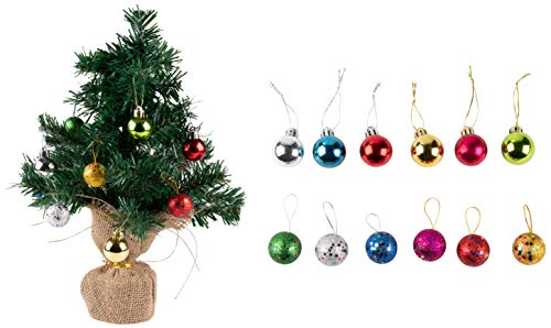 Juvale Mini Christmas Tree - Small 16-Inch Green Artificial Pine Tree with Burlap Base, Includes 12 Assorted Christmas Balls, Festive Holiday Home or Office Table Decoration, 16 Inches Tall