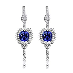 Gold-White Diamond Tanzanite Earrings