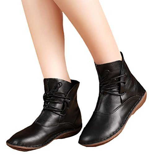 Mordenmiss Women's Leather Short Boots New Shoes B013W5ROQW US 6//CH 37|Style 1-black
