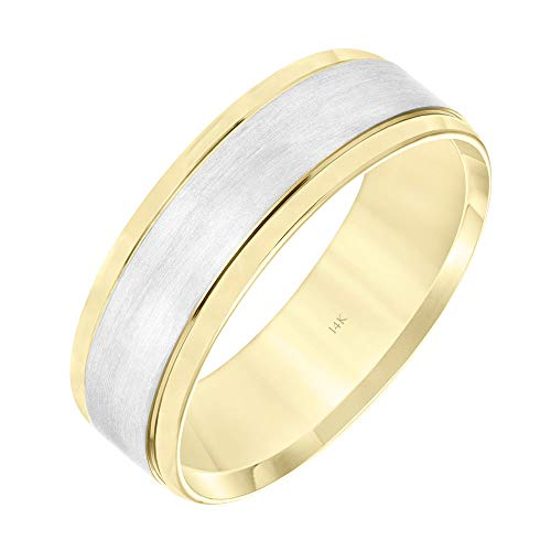 Brilliant Expressions 14K Yellow and White Gold Brushed Flat Wedding Band with Beveled Edges, 7mm, Size ()