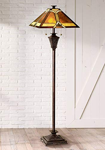 Mission Floor Lamp French Bronze Tiffany Style Glass with Natural Mica Shade for Living Room Reading Bedroom - Robert Louis -