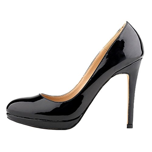 HooH Women's Pumps Platform High Heel Dress Pumps Wedding Shoes Slip On Black U3J6SP