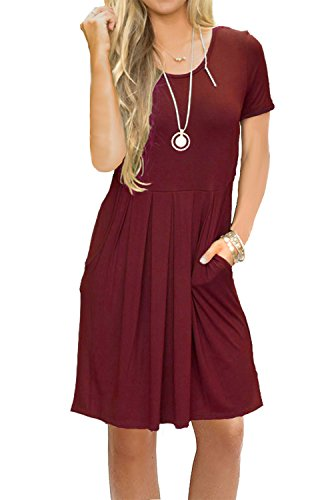 AUSELILY Women's Summer Short Sleeve Flowy Tunic Dress for Work Wine Red M