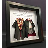 Harry Potter Wedding Gift, Personalized Wedding, First Anniversary Gift, Hogwarts Harry Potter and Hermione Gryffindor, Slytherin, Hufflepuff, and Ravenclaw Paper Origami Bride & Groom Shadowbox Frame Wall Art Gift