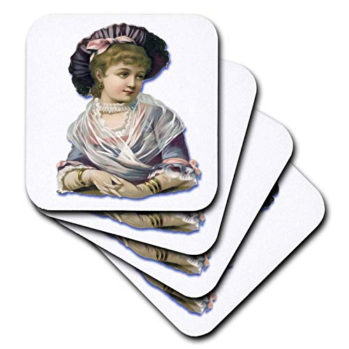 3dRose Vintage Victorian Images of Men and Women - Pretty Young Victorian Woman in Lavender and Pink - set of 4 Coasters - Soft (cst_175398_1)