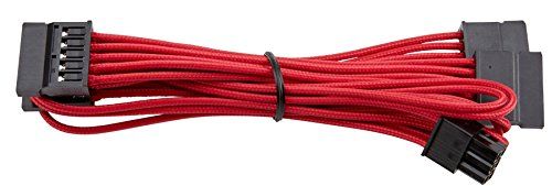 Corsair CP-8920187 Premium Individually Sleeved SATA Cable, Red, for Corsair PSUs