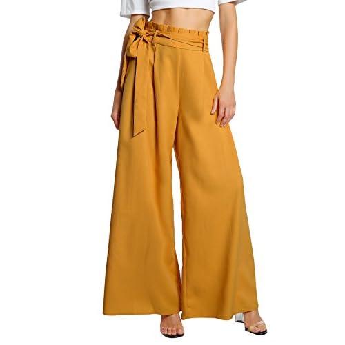 f7c4d218ba best SheIn Women's Casual Belted High Waist Wide Leg Palazzo Dress Pants
