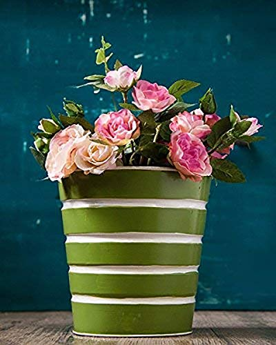 Small Metal Planter with Floral Motifs Plant Containers Standing Planters Green Planters ()