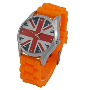Montre Concept - Relojes Analógicos mujer Chtime - Correa Silicona Naranja - Dial Redondo Fondo Azul