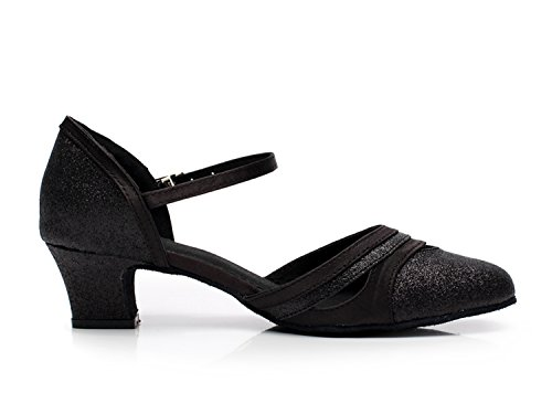 Minitoo QJ7012 Damen Low Chunky Heel Pumps Suede Ballroom Latin Dance Schwarz