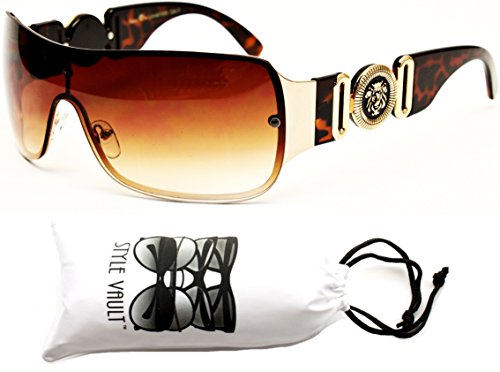 Metal Aviator Shield (A182-vp Turbo Aviator Shield/metal Sunglasses (7804 Gold/Tortoise Brown, uv400))