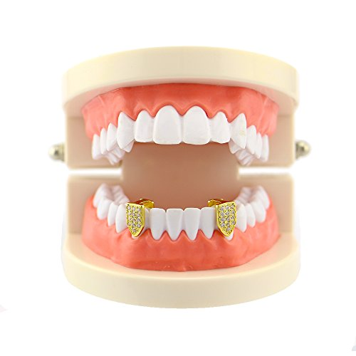 Full Grill Teeth (Lureen 14k Gold Silver 2 PC Pave Full CZ Single Vampire Fangs Grillz Teeth Set Top and Bottom Hip Hop Teeth (Bottom Gold))