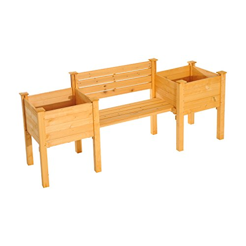 """Outsunny 82"""" Wooden Garden Bench W/ Flower Bed Planters"""