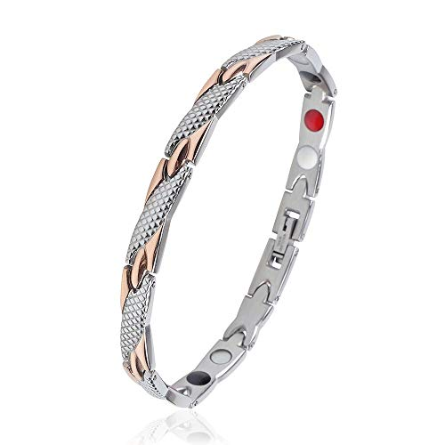 iZion Men Women Magnetic Therapy Bracelet Stainless Steel 4 Element Twisted Link Health Wristband Pain Relief for Arthritis and Carpal Tunnel (Silver&Rose Gold)