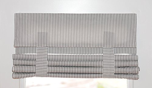 Gray and White Striped French Door Curtain 1 panel