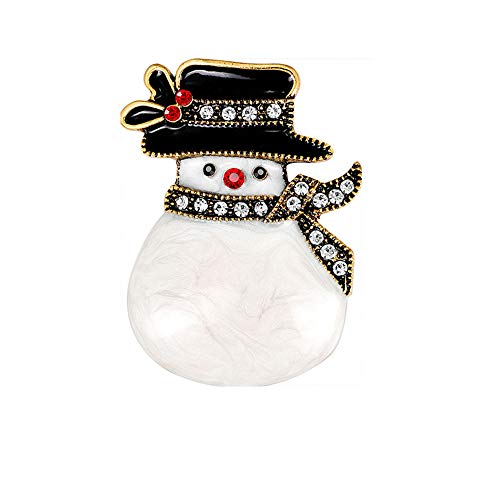 - NOUMANA Winter Theme Pins Christmas Crystal Snowman Brooches Banquet Party Cute Trendy Women Girls Jewelry